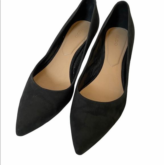 ALDO Black Faux Suede Pointed Toe Kitten Heel 9